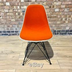 Orange Herman Miller Vintage Original Eames Upholstered DSR Side Shell