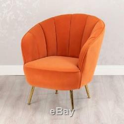 Orange Matte Velvet Accent Upholstered Occasional Bedroom Chair Gold Legs(gb574)