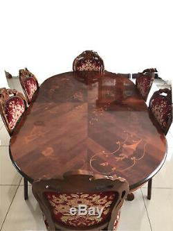 Ornate Italian Style Mahogany inlay veneer Dining Table and 6 upholstered chairs