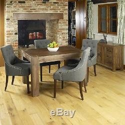 Oskar solid dark walnut furniture set of eight upholstered stone dining chairs