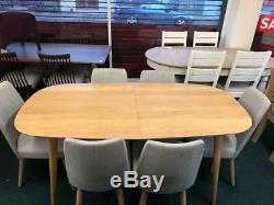 Oslo Oak 6-8 Extending Dining Table + 6 Fabric Upholstered Chairs Sale