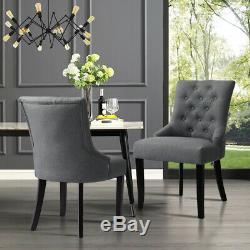 PAIR Upholstered Dining Room Chair Fabric Deep Retro Buttoned Tufted Back Chairs