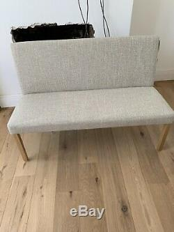 Pair 2 Dining Bench Cream Upholstered Back With Oak Legs