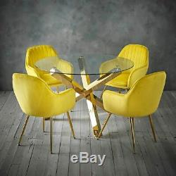 Pair Of 2 Ochre Yellow Matte Velvet Accent Upholstered Dining Chair Gold Legs