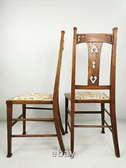 Pair Of Antique Art Nouveau / Arts & Crafts Oak Framed Upholstered Dining Chairs