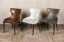 Pair Of Brown Faux Leather Upholstered Dining Chair Leather Look Wingback Dining