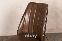 Pair Of Brown Faux Leather Upholstered Dining Chair Rib Stitched Modern Style