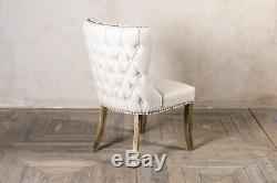 Pair Of Cream Linen Dining Chairs, Upholstered Side Chairs, Button Back Chairs