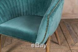 Pair Of Duck Egg Blue Velvet Upholstered Tub Chair Bucket Armchair Dining Chair