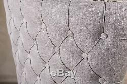 Pair Of Grey Linen Dining Chairs With Armrests, Upholstered Carver Chairs