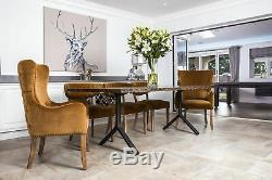 Pair Of Mustard Yellow Velvet Dining Chairs With Armrests, Upholstered Carvers