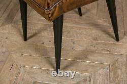 Pair Of Upholstered Dining Chairs In Vintage Style Brown Faux Leather Modern