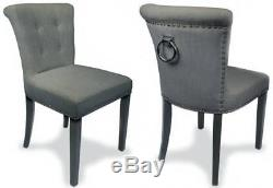 Pair Regal Sandringham Grey Linen Style Upholstered Dining or Accent Chair