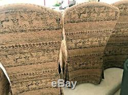 Pair Thomasville Parson Dining Room Side Chairs Animal Print Upholstered MINT