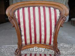 Pair of 19c Oak Balloon Back Upholstered Dining Chairs Scroll Carving (511)