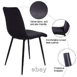Pair of 2 Black Velvet Dining Chairs Metal Legs Upholstered Chairs Seat Kitchen