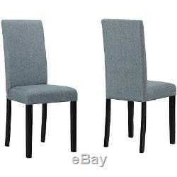 Pair of 2 Fabric Dining Chairs in Grey with Black legs
