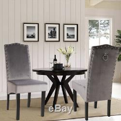 Pair of 2 Velvet Fabric Dining Chair Side Chairs High Back Upholstered Seat Soft