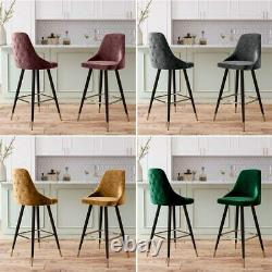 Pair of Bar Stools Upholstered Seat Dining Bar Chairs Kitchen Island Barstools