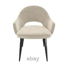 Pair of Beige Fabric Dining Chairs Colbie