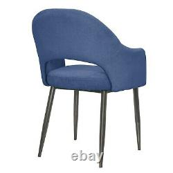 Pair of Blue Dining Chairs in Chenille Fabric Colbie