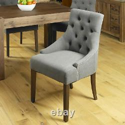 Pair of Dining Chairs Fabric Slate Grey Studded Solid Wood Legs Shiro Premium