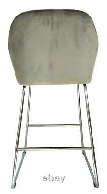 Pair of GREY Velvet High Bar Chairs StoolS Kitchen/Dining/Breakfast Bar Chairs