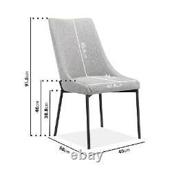 Pair of Light Grey Fabric Dining Chairs Modern Camilla KAR002