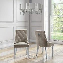 Pair of Mink Knocker Chairs in Velvet with Chrome Legs & Studs Jade Bou JAD007