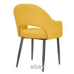Pair of Mustard Yellow Fabric Dining Chairs Colbie CLB003