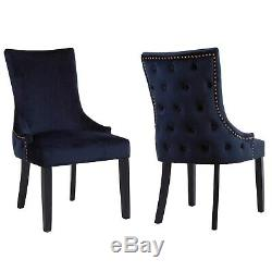 Pair of Navy Blue Velvet Dining Chairs with Buttoned Back Jade Boutique JAD025
