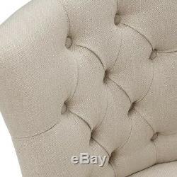 Pair of Primrose Upholstered Button Back Chair Cream, Light Oak, Fully Assembl