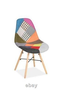 Pair of Scandi Retro Patchwork Dining Chairs