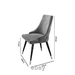 Pair of Silver Grey Velvet Dining Chairs with Button Back Maddy