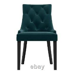 Pair of Teal Blue Velvet Dining Chairs with Buttonted Backs Kaylee KLE008