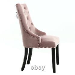 Pair of Upholstered Dining Chair Velvet Kitchen Knocker Chrome Ring Studs Chairs