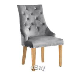 Pair of Upholstered Dining Chair Velvet Kitchen Scoop Stud Knocker Tufted Seat
