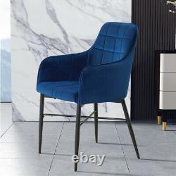 Pair of Velvet Accent Armchair Lounge Dining Chairs Upholstered Home Living Room