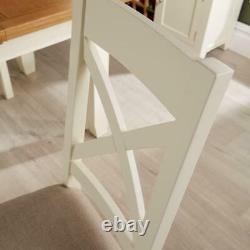 Pair of White Solid Wood Cross Back Dining Chairs With Upholstered Fabric Seat