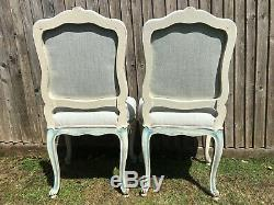 Pair of vintage French distressed painted re-upholstered occasional chairs