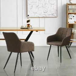 Pairs of Brown Faux Leather Dining Chairs PU Upholstered Metal Legs Tub Chair