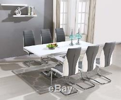 Pescara High Gloss Dining Table Set and 6 Upholstered Grey Chairs