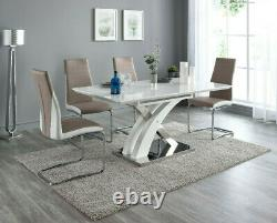 Pescara High Gloss Dining Table Set and 6 Upholstered Grey and White Chairs