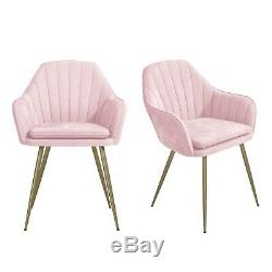 Pink Velvet Tub Chairs with Gold Legs Set of 2 Logan LOG001