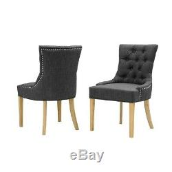 Primrose Upholstered Button Back Chair Charcoal, Fully Assembled