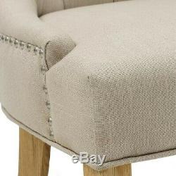 Primrose Upholstered Button Back Chair Cream, Light Oak, Fully Assembled