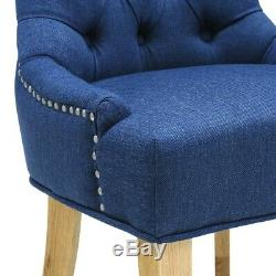 Primrose Upholstered Button Back Chair Navy, Light Oak, Fully Assembled