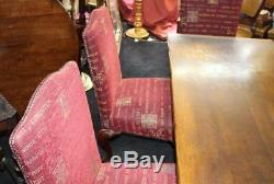 Quality Oak Refectory Table & 6 Carved Mahogany Upholstered Dining Chairs