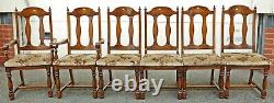 Quality Set of 6 Oak Antique Style Upholstered Dining Chairs! (PAS0125)