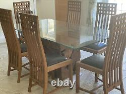 Raft Teak Root Base Glass Dining Table with 6 Teak upholstered chairs